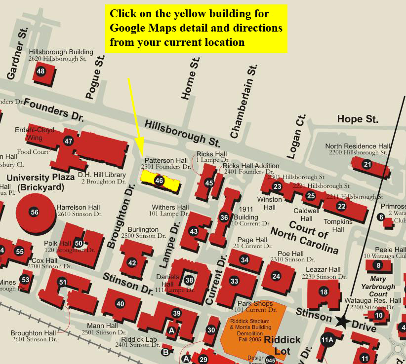 Nc State Campus Map Campus Map for Patterson Hall | CALS Academic Programs | CALS