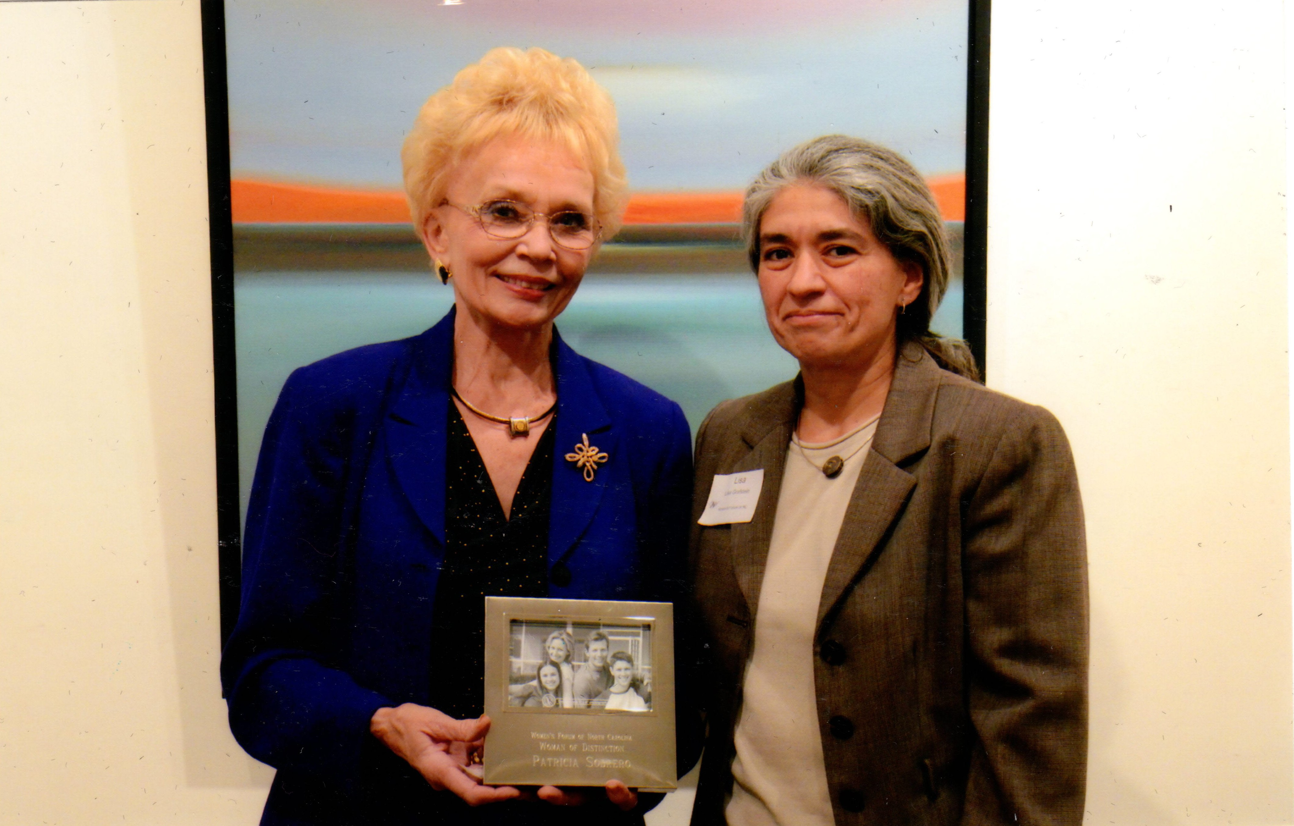 Picture of Dr. Sobrero receiving her award